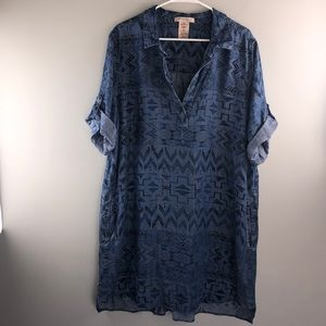 Philosophy Womens XXL Blue Aztec print Shift Dress